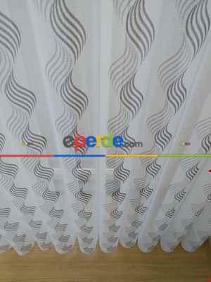 Salon - 1. Kalite Baskılı Tül Dikey Zebra Perde Şal Desen- Gri-Füme-Antrasit