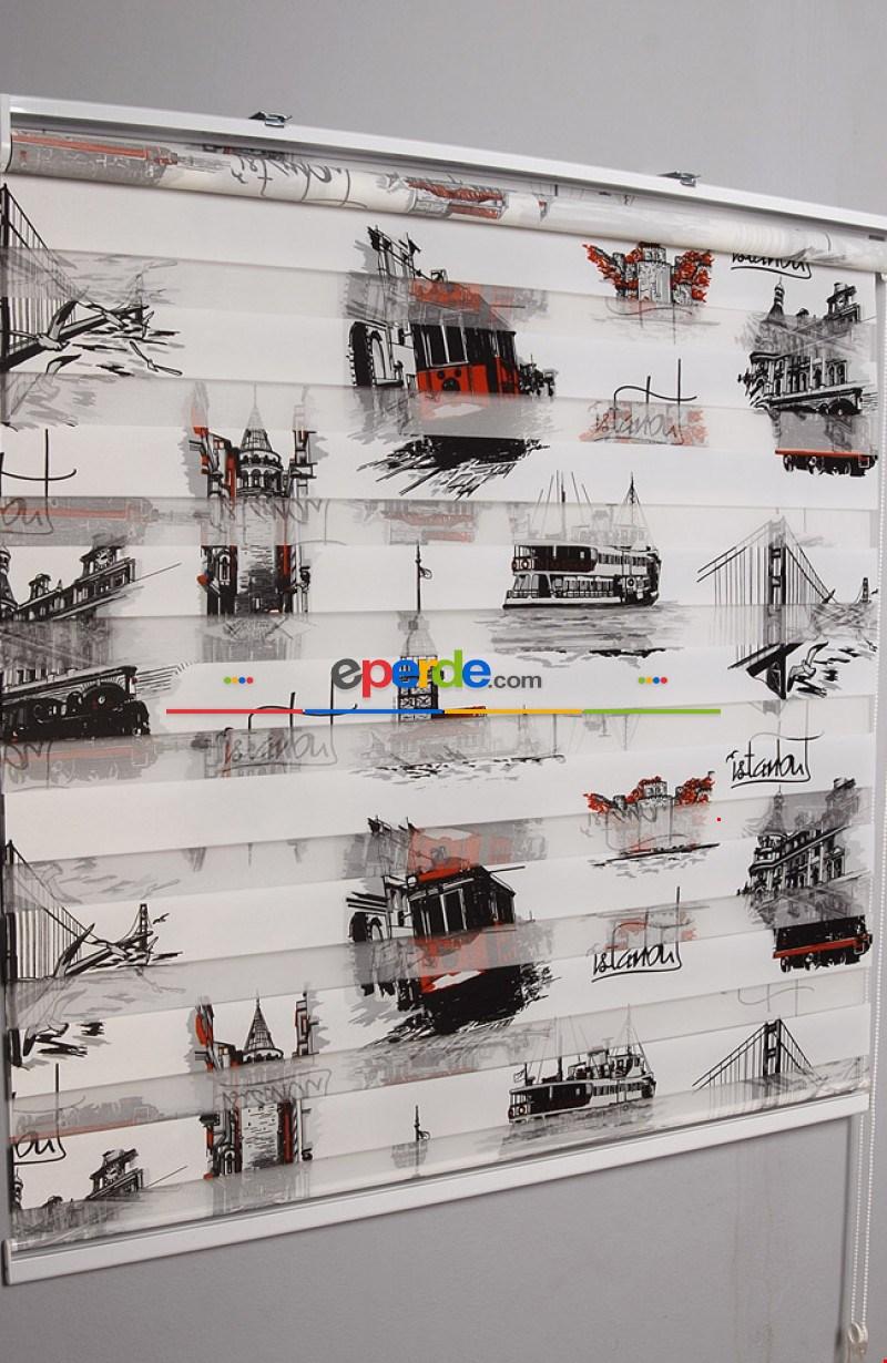120x200 Siyah İstanbul Baskılı Hazır Zebra Perde