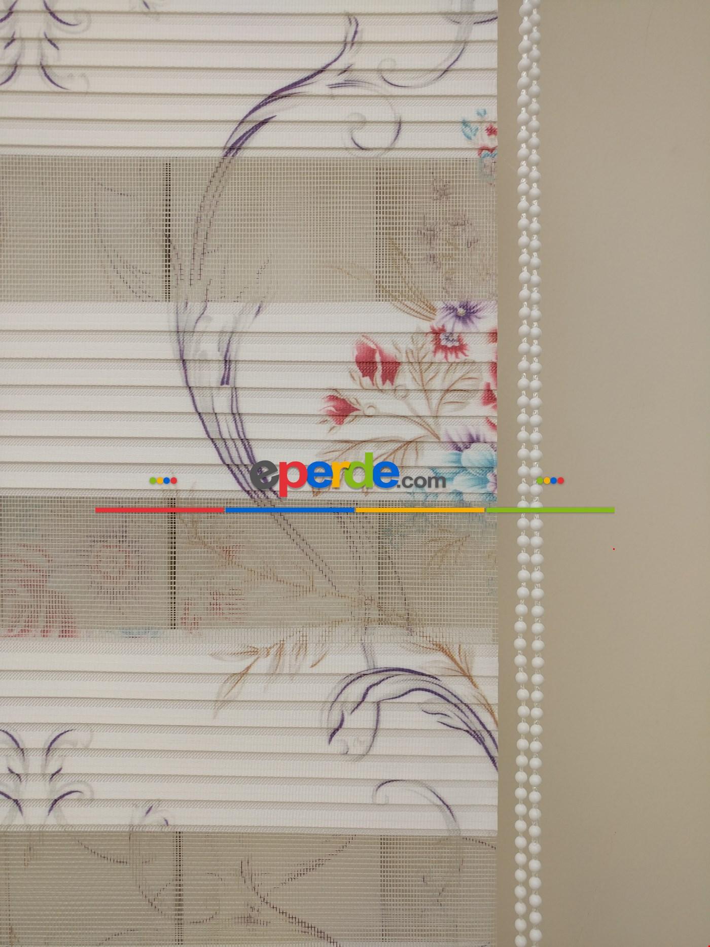 Fırsat!!! Beyaz Pilise Çiçek Baskılı Zebra Perde (yeni Ürün) (ücretsiz Etek Dilim)