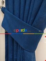 Pudra Pembe - Düz Jakar Fon Perde (180) Mavi Koyu