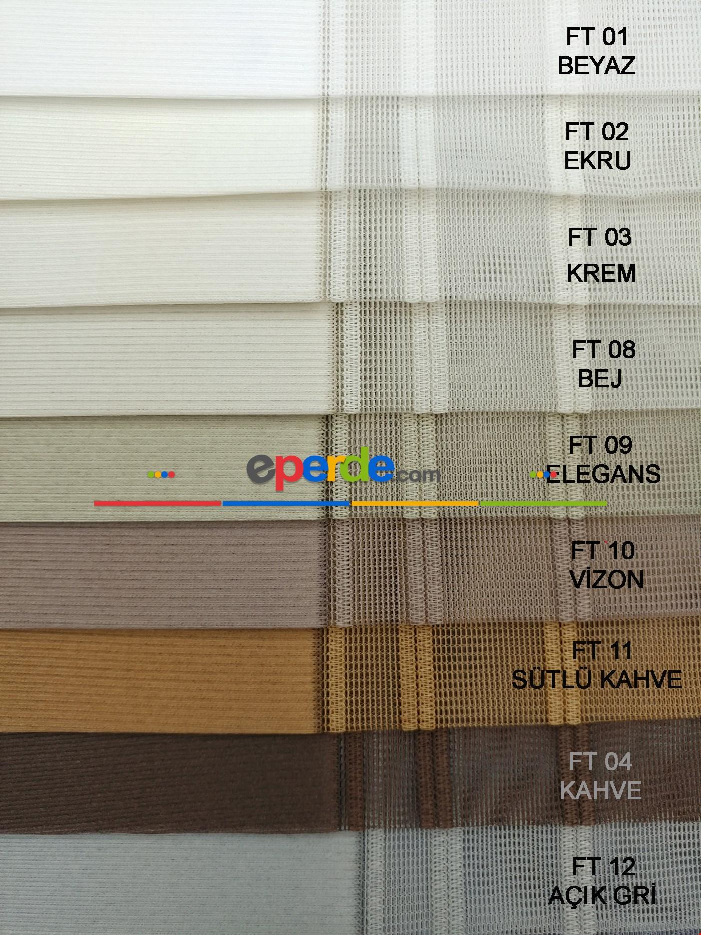 1. Kalite Çizgili Tül Dikey Zebra Perde Ft-33 Parlament - Ft27 Çağla Yeşili - Ft25 Mint Yeşili -