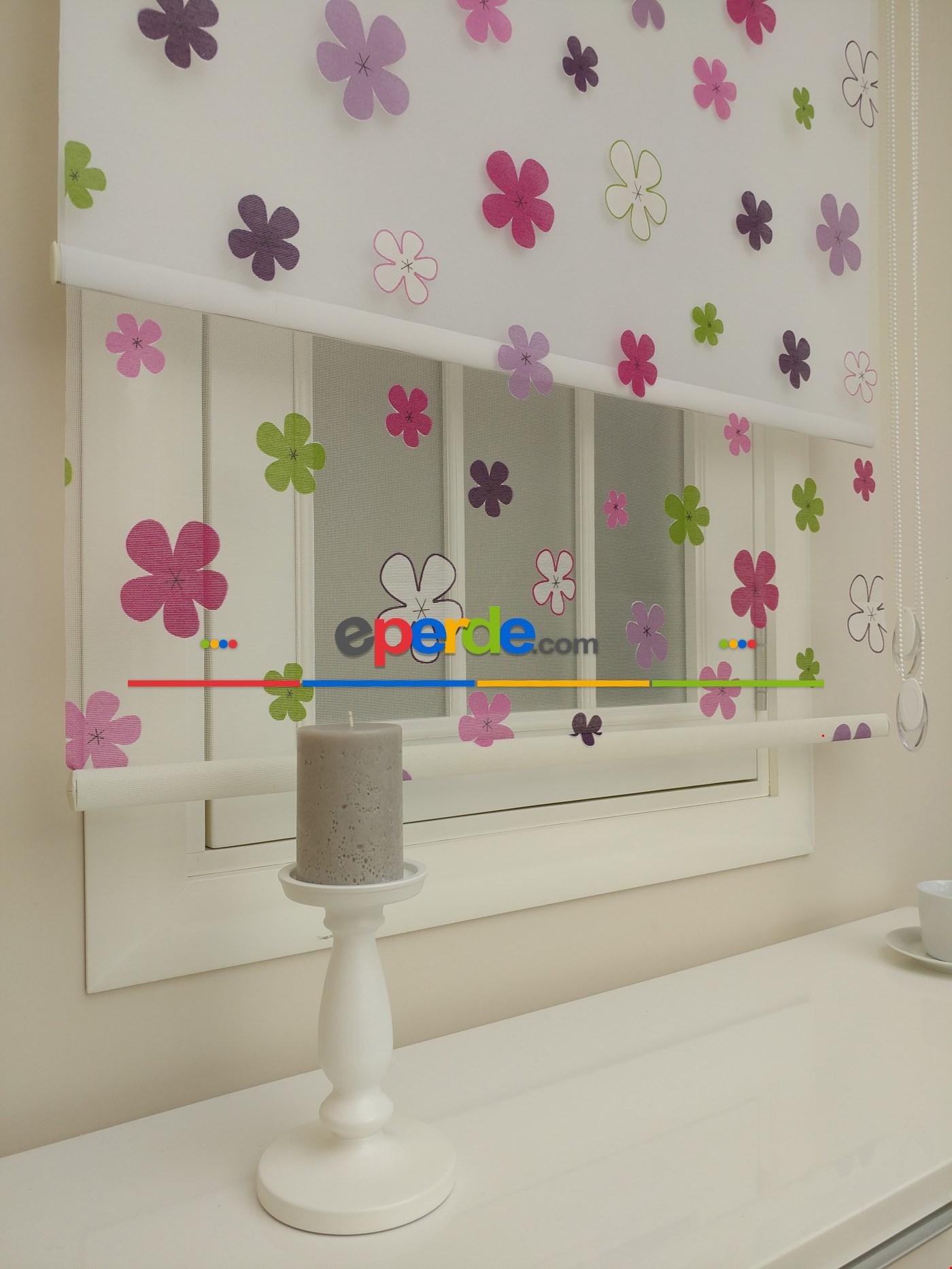 %25 İndirimli!!! Kız Çocuk Odası Çok Renkli Papatya Tül Stor Perde