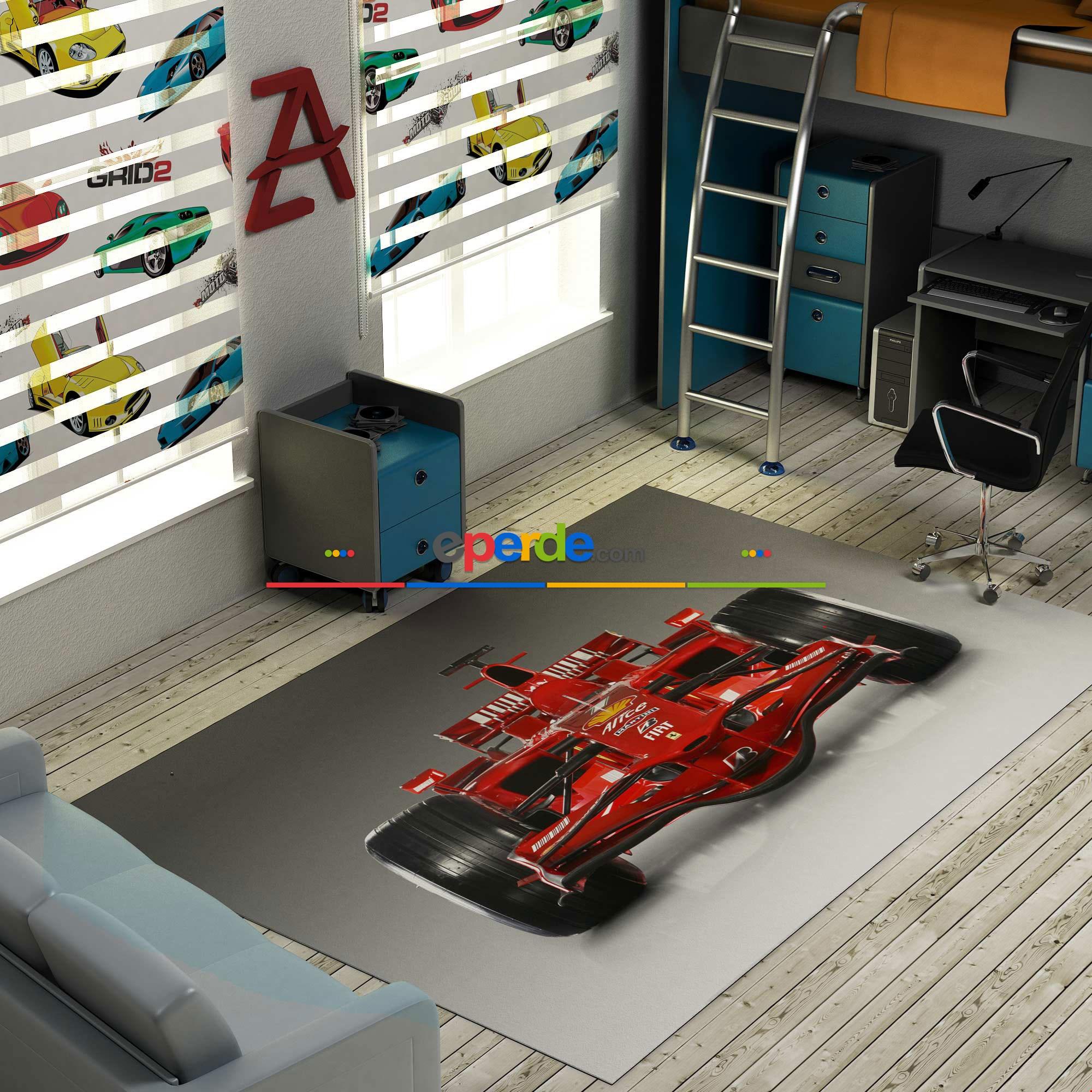 F1 Ferrari Baskılı Halı