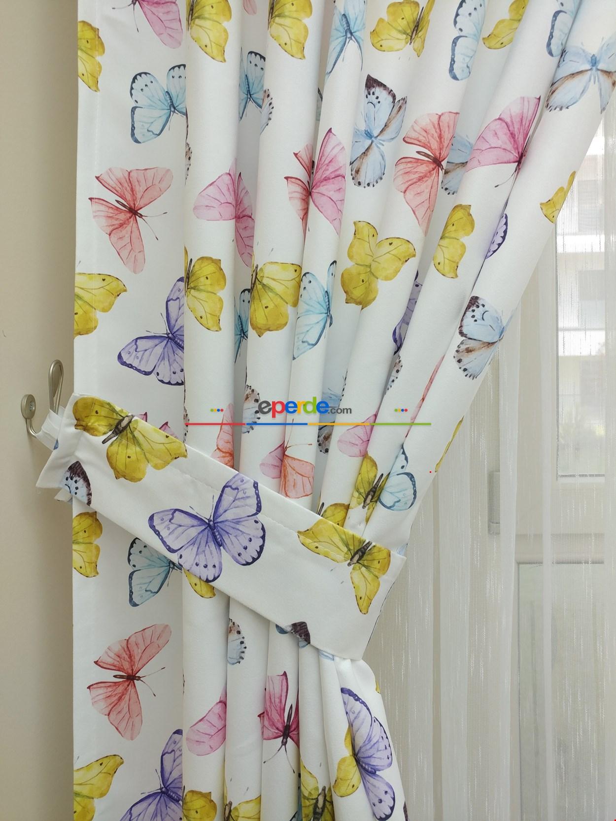 Kelebek Desenli Kız Bebek Ve Çocuk Odası Fon Perde Modelleri