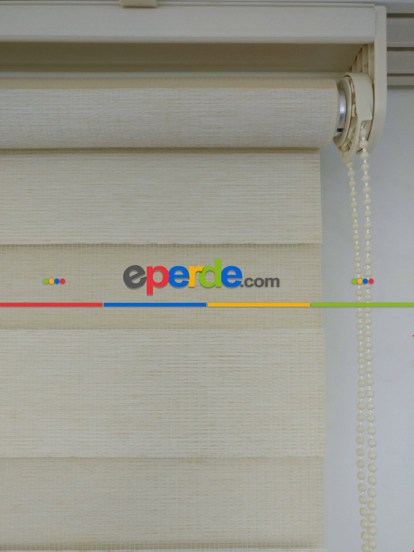 Krem Renk Bambu Zebra Perde(1.kalite) Kalın Zemin ( Ücretsiz Etek Dilim )