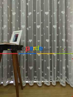 Çocuk Odası Tül Perde - Kalp Desen Örme Tül Perde- Ekru