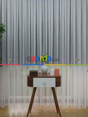 ( Orjinal ) Fantazi İnce Çizgili Tül Perde Kurşunlu Resimdeki Pile 1/3- Ekru 125cm X 260cm