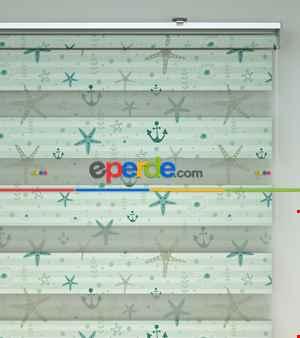 Çocuk Odası Zebra Perde - Deniz Yıldızı Baskılı Zebra Perde- Beyaz-Turkuaz-Su Yeşili