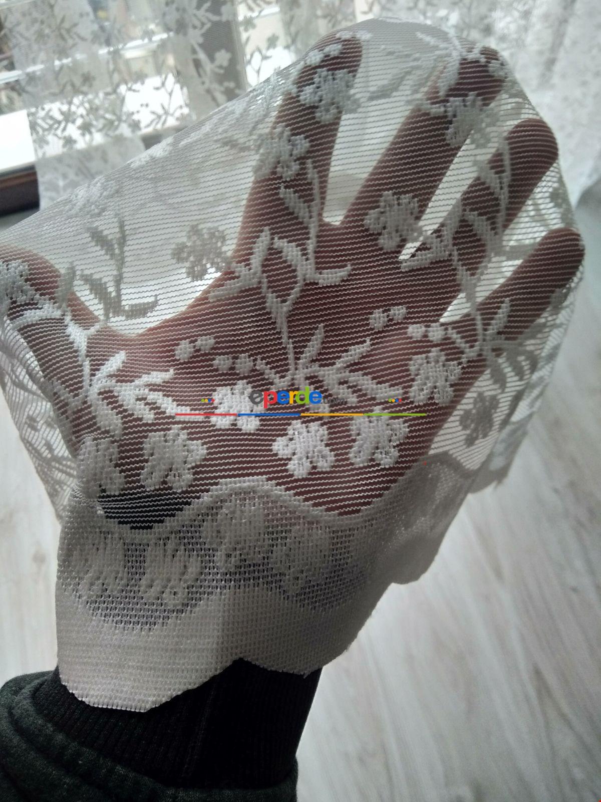 Hazır Dikili Çiçek Desenli Dantel Örme Perde 1/ 2,5 Pile