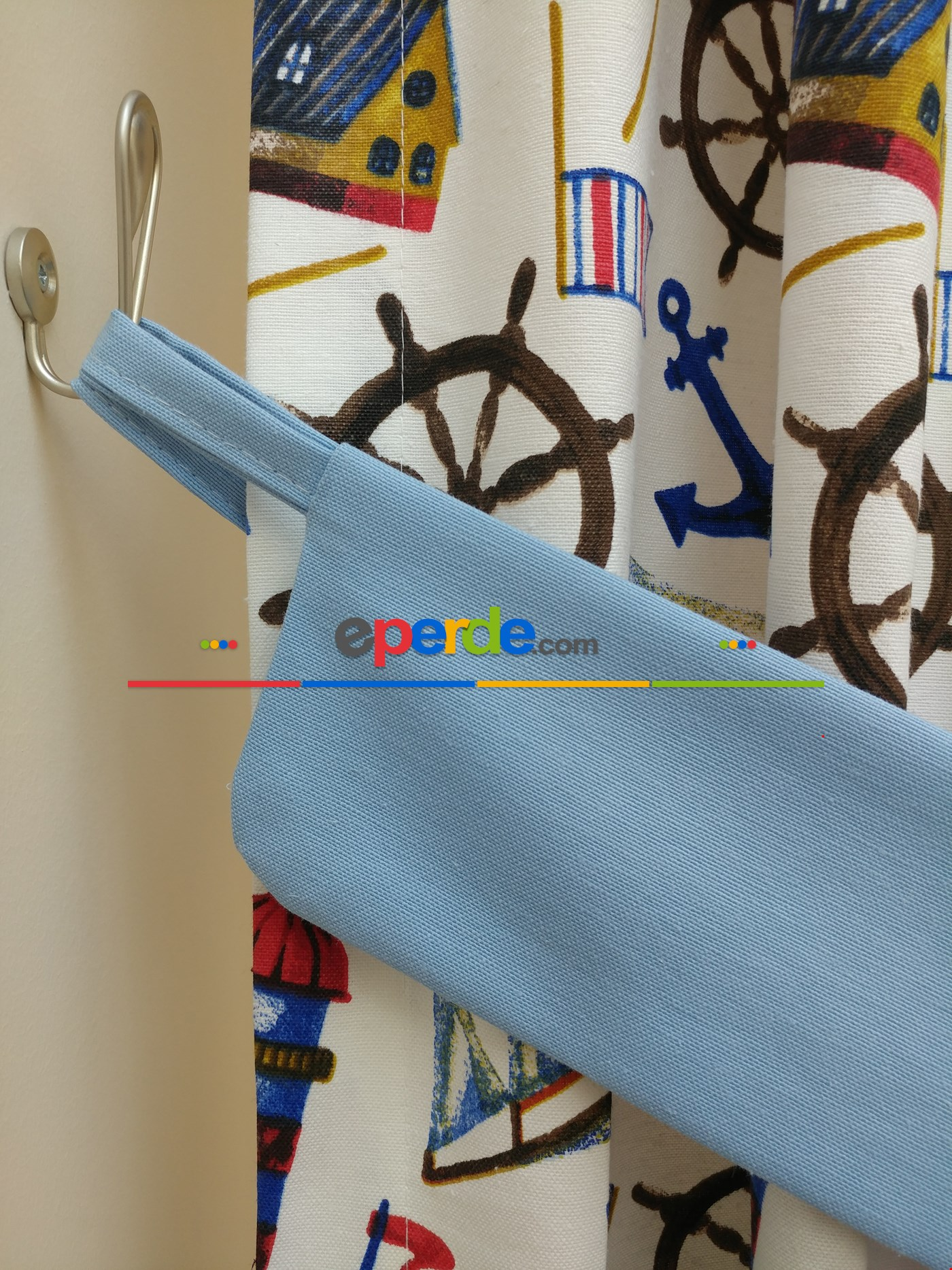 Çapa Denizci Desenli Fon Perde Acık Mavi Kombinli ( Leke Tutmaz )