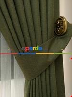 Açık Krem Rengi - Düz Keten Fon Perde ( En 180cm Keten Fon Perde)- Taş Rengi Yeşil - Haki