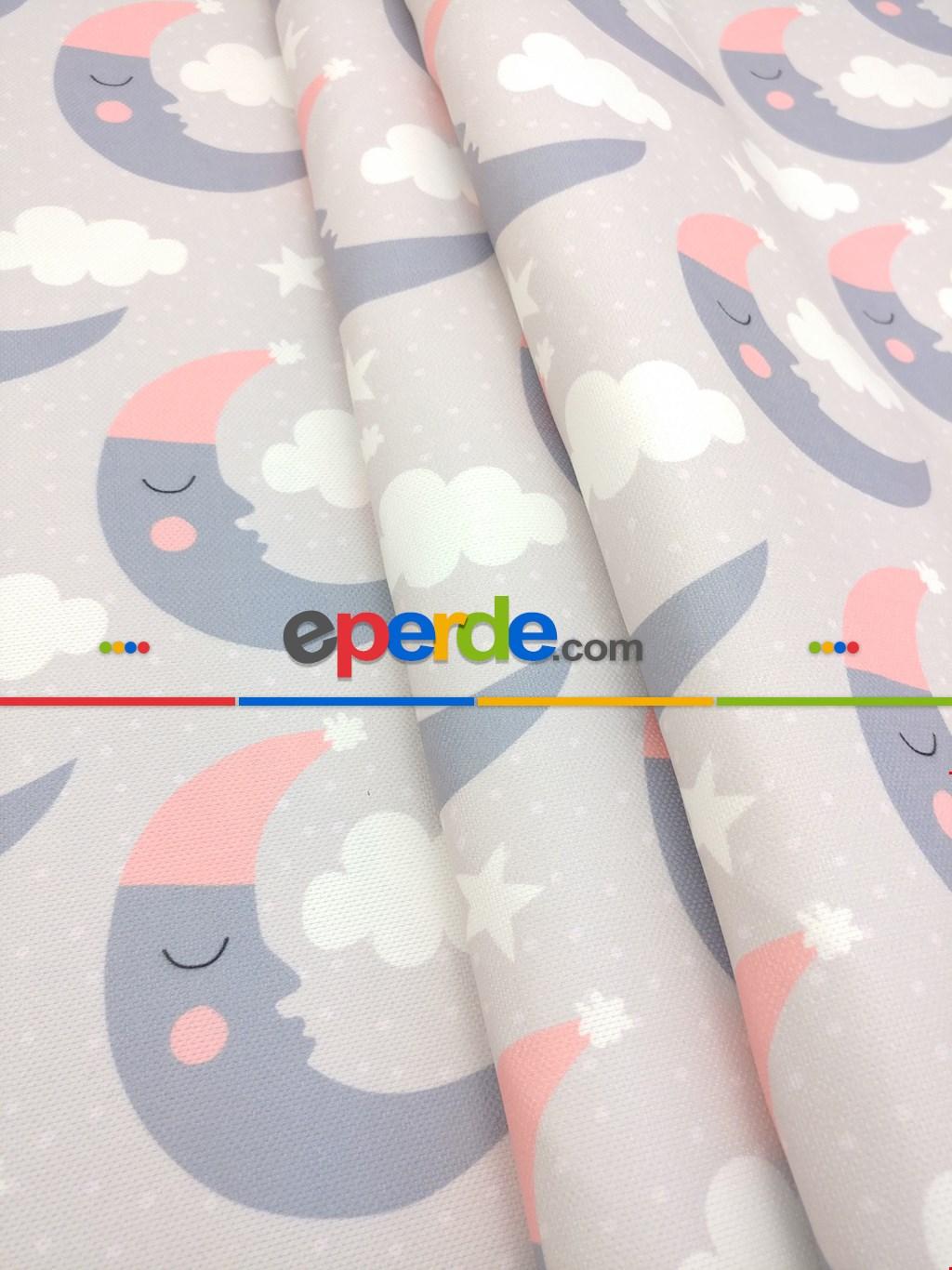 Bulut Desenli Bebek Odası Fon Perde Modelleri - Ay Dedeli- Füme-pembe-gri Açık