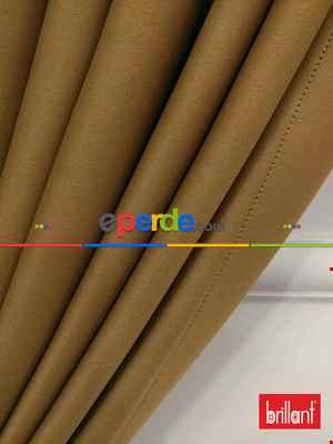 Brillant Karartma Blackout Hardal Sarısı Renk Fon Perde- Kahve Açık-hardal Sarısı