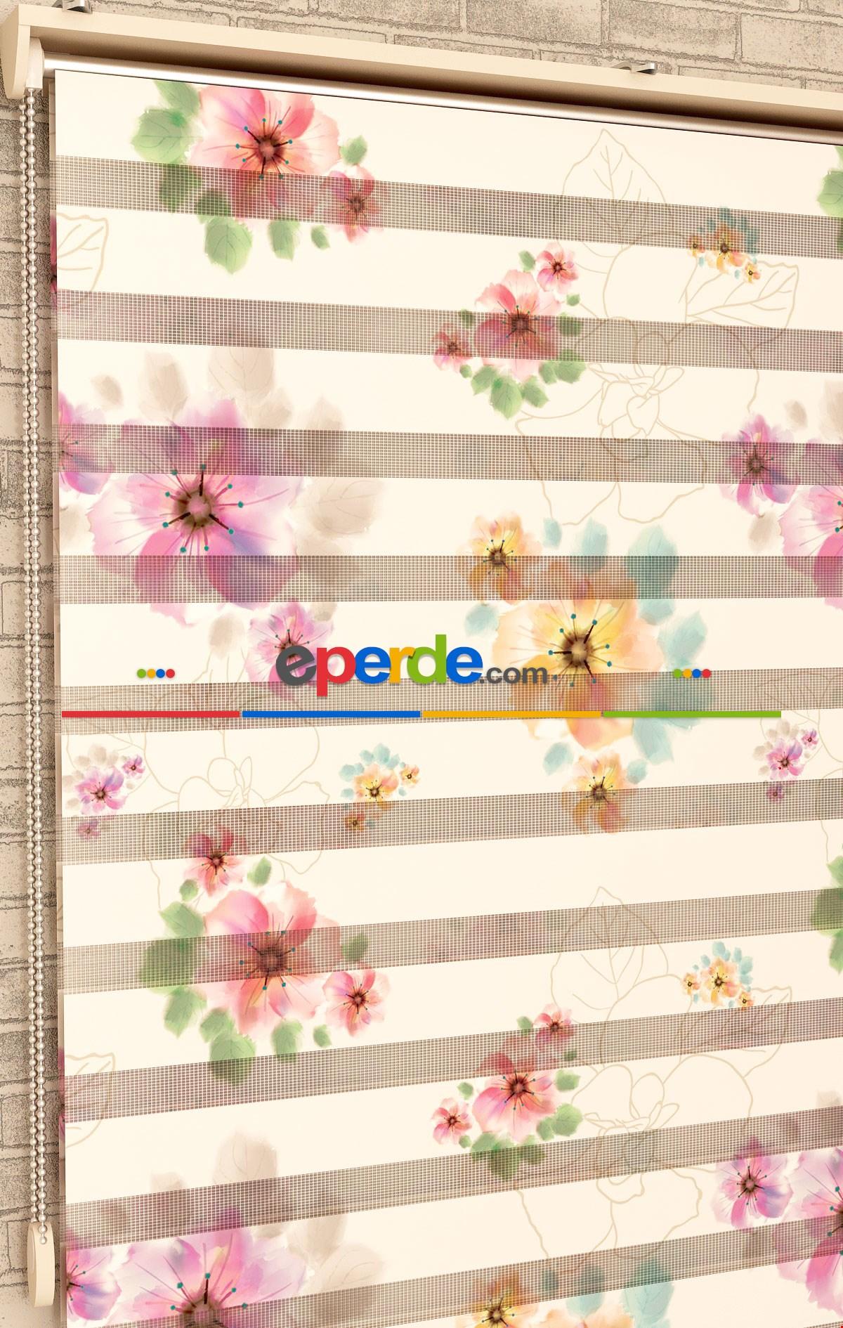 Renkli Çiçekler Suluboya - Baskılı Zebra Perde