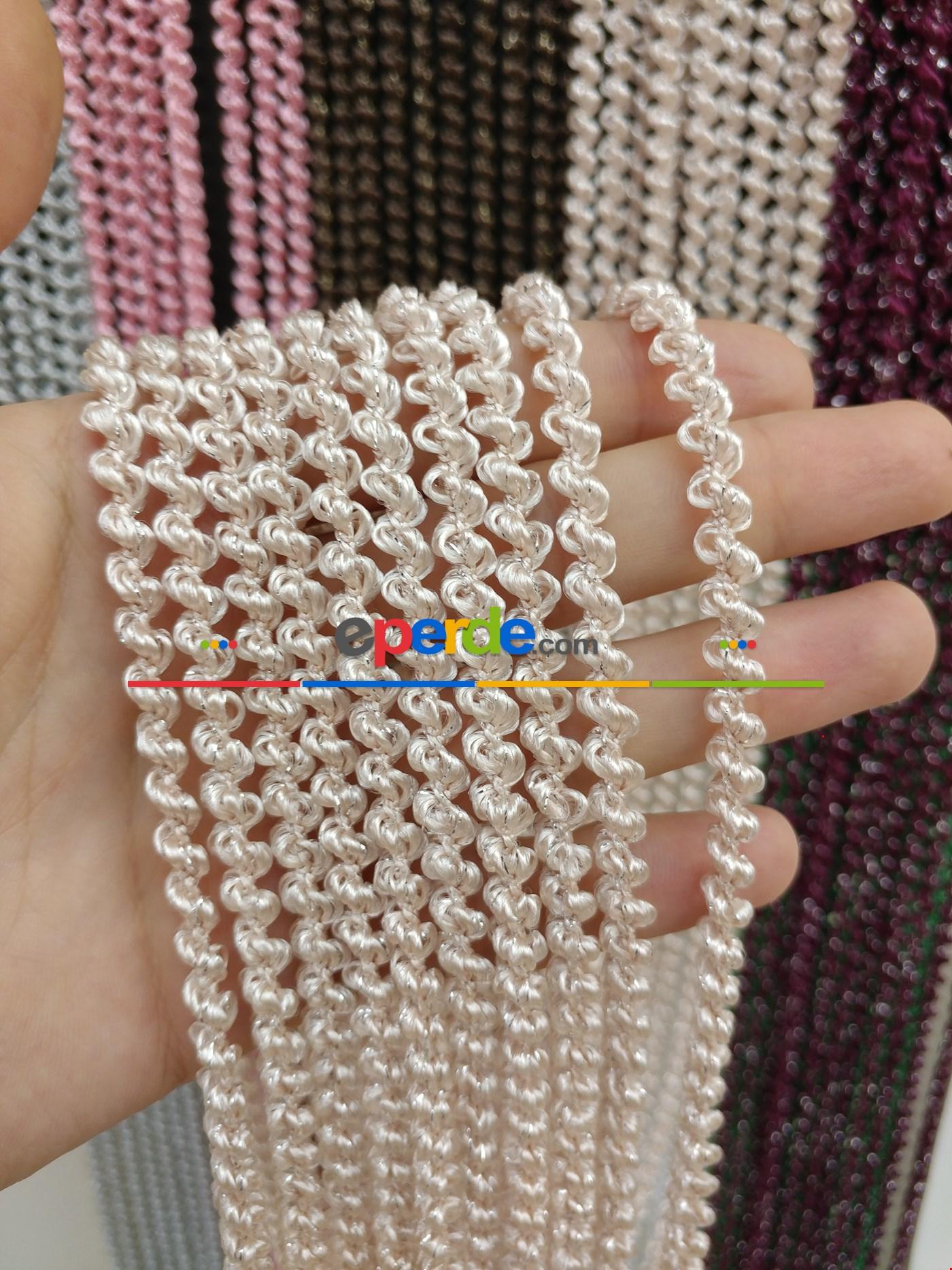 Gri Rengi İp Perde Bukle Serisi Pembe - Gümüş
