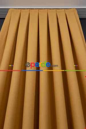 Salon Fon Perde - Keten Sarı Renk Düz Fon Perde- Sarı