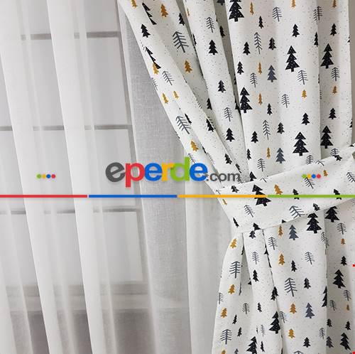 Çam Ağacı Desenli Fon Perde K601 Kumaşı Kalındır Duck Bezi Değildir- Beyaz