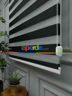 Salon Zebra Perde - Karartma Zebra Perde - Blackout Zebra Perde-ışık Geçirmez Zebra Perde- Siyah
