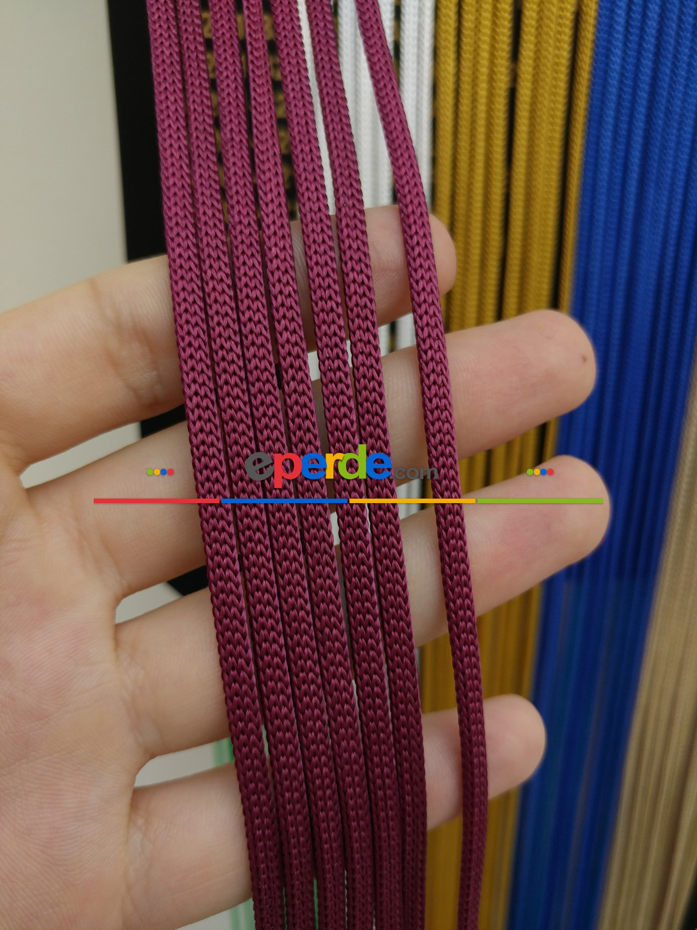 Gri Rengi İp Perde Jumbo Zincir Serisi Bordo