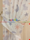 Bebek Odası Fon Perdesi Bulut Ay Yıldız Desenli
