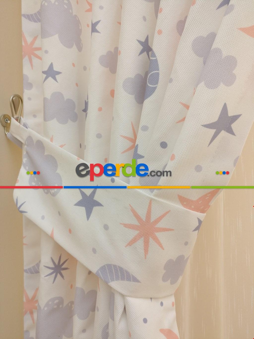 Bebek Odası Fon Perdesi Bulut Ay Yıldız Desenli ( Kalın Pamuklu Kumaş )- Gri Açık-mavi Grimsi-yavru Ağzı
