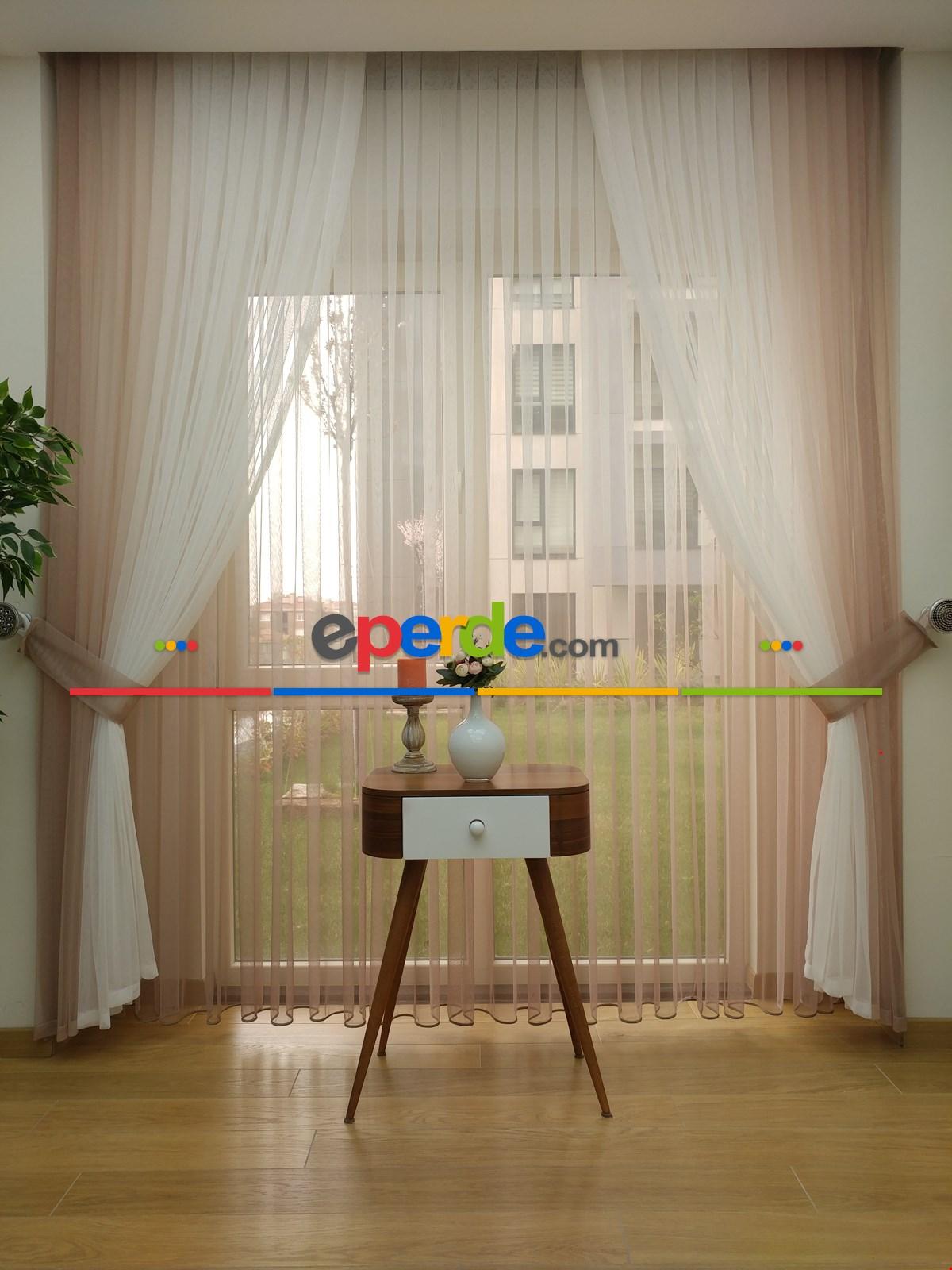 Degrade Renk Geçişli Fransız Danteli Düz Tül Perde ( Fon Satın Alarak Kombin Yapılabilir ) Beyaz - Bej