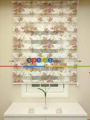 Desenli Mutfak Zebra Perde- Lila Açık Lila