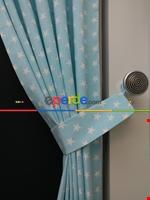 Pembe-beyaz Yıldız Desenli Fon Perde ( Leke Tutmaz )- Pembe Açık Mavi