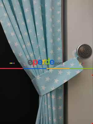 Açık Mavi-beyaz Yıldız Desenli Fon Perde ( Leke Tutmaz )- Mavi Açık