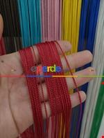 Bordo Rengi İp Perde İnce Zincir Serisi Kırmızı