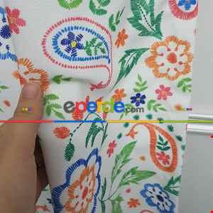 Renkli Çiçek Desenli Fon Perde Evm805 Kumaşı Kalındır Duck Bezi Değildir- Beyaz-Açık Yeşil- Çok Renkli 3