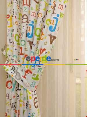 Harf Desen Kız & Erkek Çocuk Odası Fon Perde ( Kalın Pamuklu Kumaş)- Gri-füme-antrasit-sarı-kiremit Rengi-mint-pudra-kahve-hardal-fıstık Yeşili