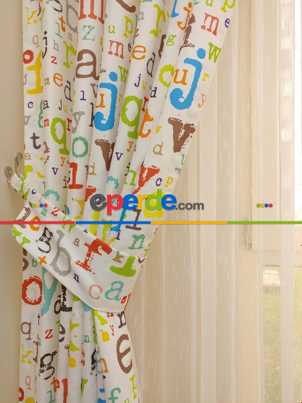 Harf Desen Kız & Erkek Çocuk Odası Fon Perde & Ana Okulu Perdesi