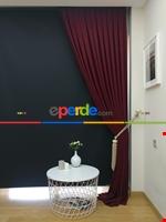 Gri Düz Renk Dökümlü Fon Perde (150)- Gri Bordo