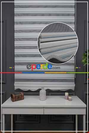 Salon - Zebra Perde - Yarım Pilise - Simli Renk Geçişli Zebra Perde