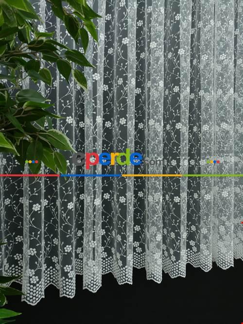 Brode İşlemeli Tül Perde Bahar Dalı Model- Ekru