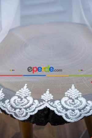 Grek Etek Ucu İşlemeli Nakış Damaks Tül Ekru Renk - Kırık Beyaz- Ekru