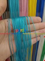 Bordo Rengi İp Perde İnce Zincir Serisi Mavi
