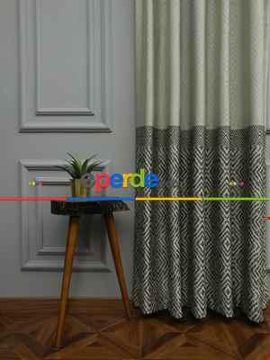 Modern Pano Fon Perde Bantlı Çift Renk - 501- Bej-Füme-Gri Açık