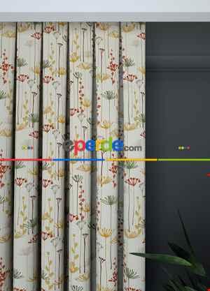 Mutfak Fon Perde - Bej Çiçek Desenli Baskılı Fon Perde 1. Kalite Çok Dökümlü