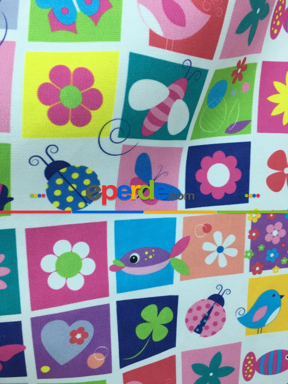 Metre İle Dikişsiz Renkli Çiçek Desenli Kız Çocuk Odası Fon Perde Modeli