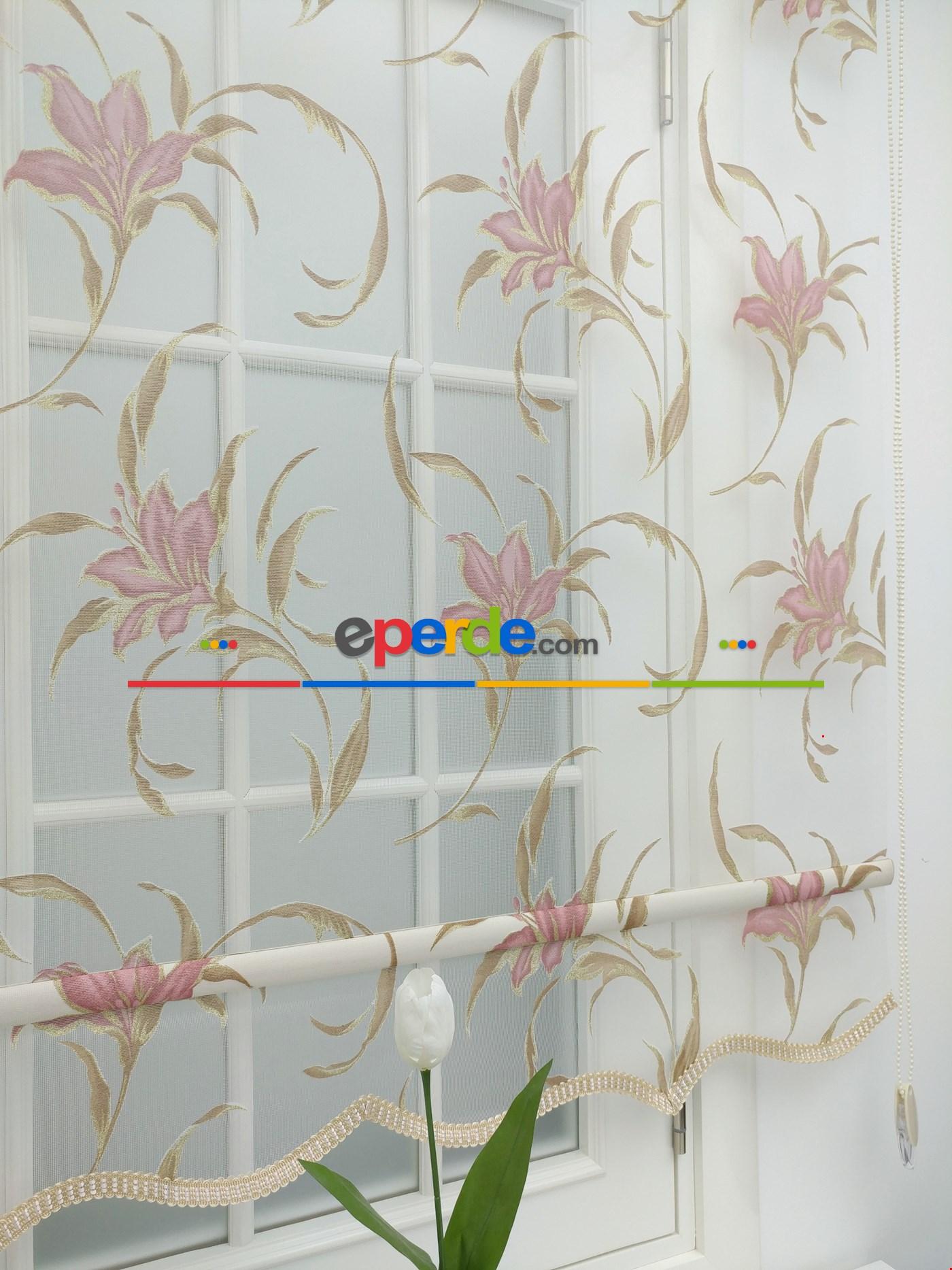 Çiftli Sistem Çiçek Desen Tül Stor Perde Ekru