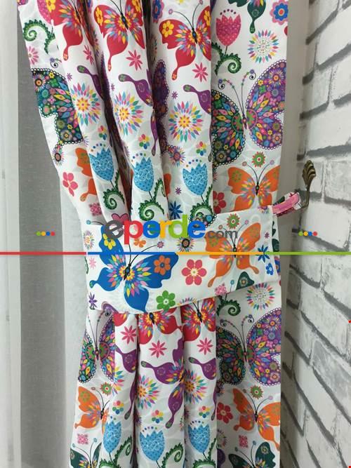 Kelebek Desenli Fon Perde Evm1113 Kumaşı Kalındır Duck Bezi Değildir- Siyah-mavi-kırmızı-sarı-beyaz-pembe- Çok Renkli 3