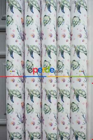 1. Kalite Bebek Ve Çocuk Baskılı Tül Dikey Zebra Perde Deniz Kabuğu - Kaplumbağa - Deniz Desen- Mavi-sarı-pembe-mor