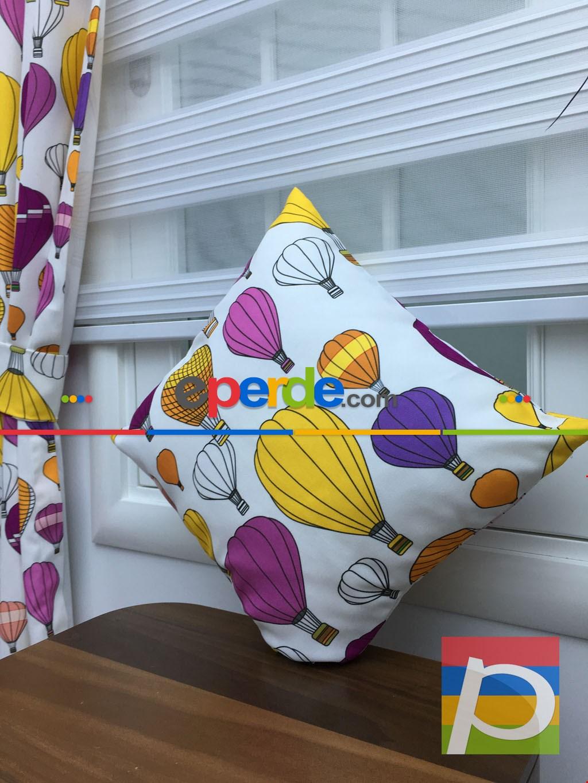 40x40 Fermuarlı Kırlent Balonlar Desenli