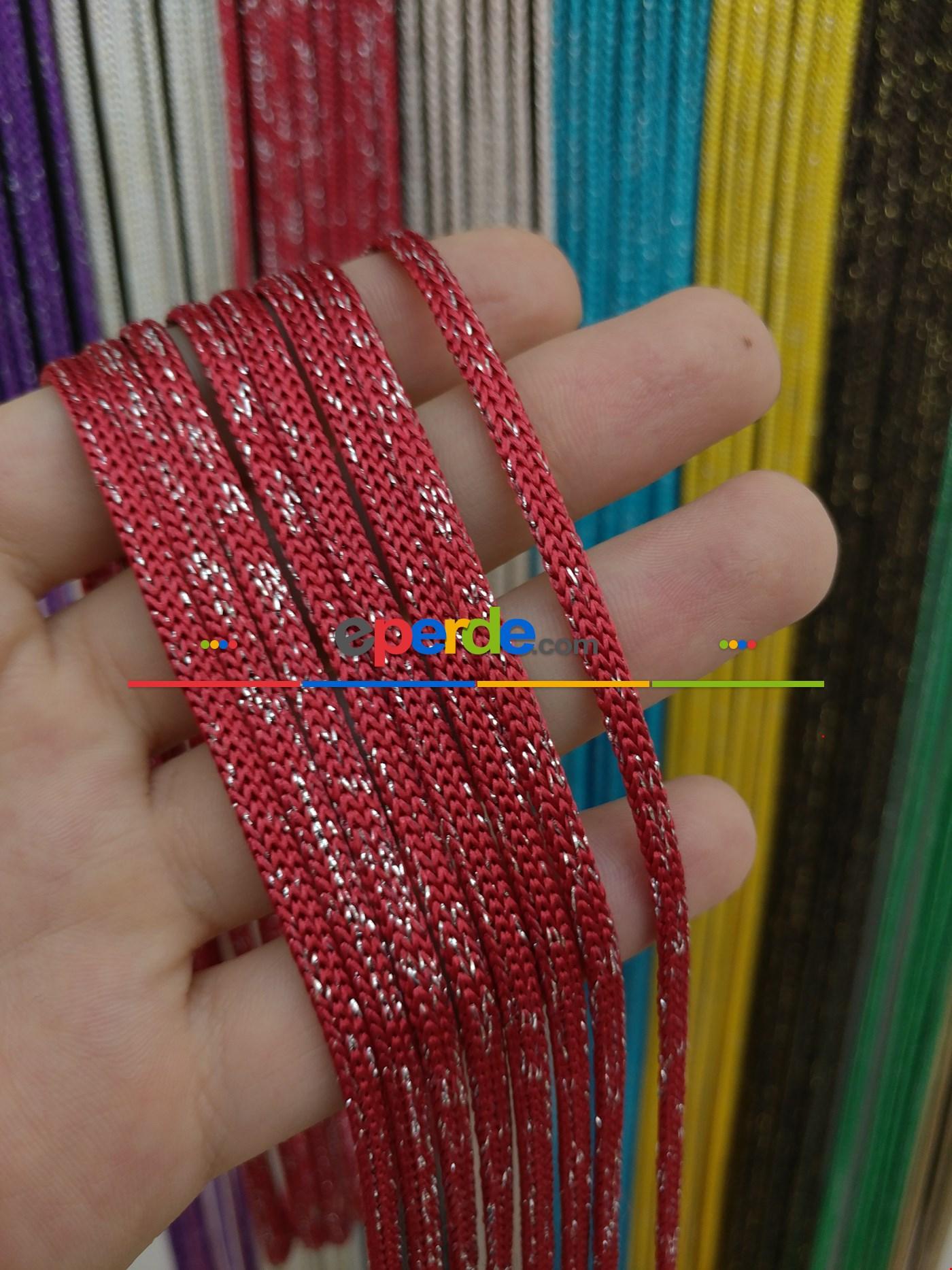 Gri Rengi Simli İp Perde Jumbo Zincir Serisi Kırmızı - Gümüş
