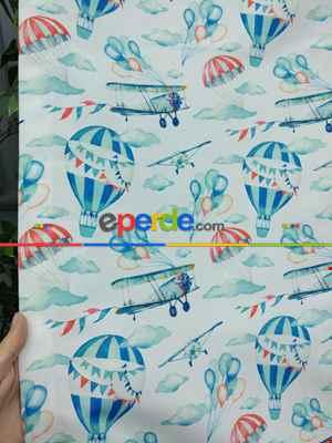 Uçak Desenli Fon Perde K679 Kumaşı Kalındır Duck Bezi Değildir.- Mavi-Gri-Füme-Antrasit-Kırmızı