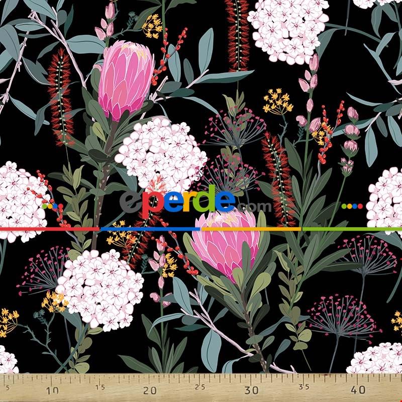 Çiçek Desenli Fon Perde Evm762 Kumaşı Kalındır Duck Bezi Değildir- Siyah-Yeşil-Kırmızı-Beyaz-Pembe