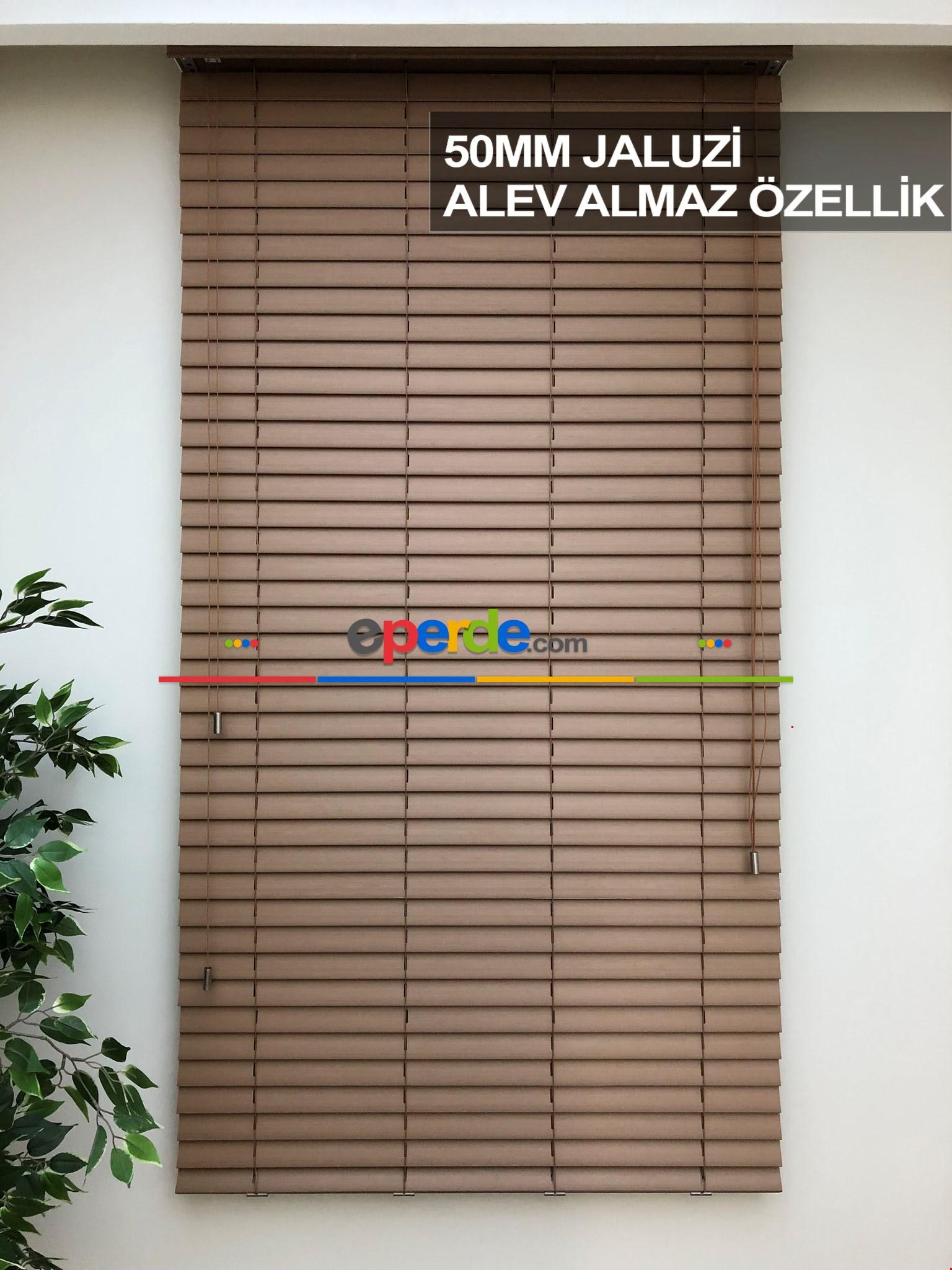 50mm Ahşap Efektli Jaluzi Perde Alev Almaz Özellik