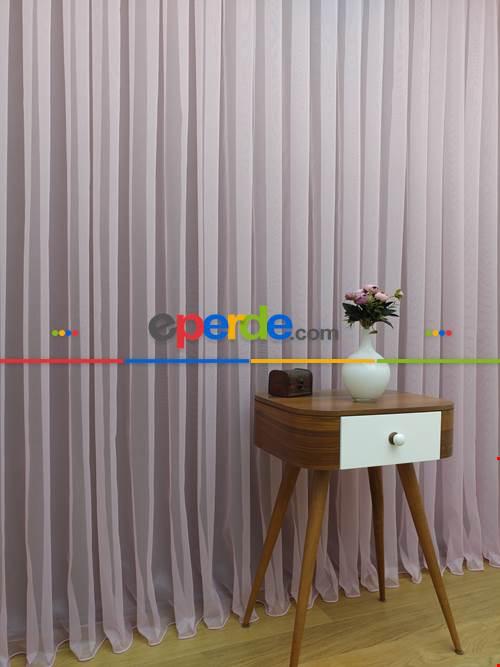 Çocuk Odası Tül Perde - Toz Pembe Ekru Geçişli Düz Tül Perde- Pembe